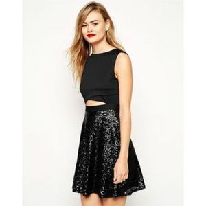 ASOS Scuba Cut Out Top Sequin Skater Dress 14